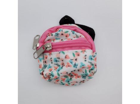 Рюкзак для кукол розовый в цветочек