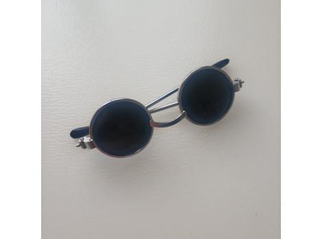 Очки для кукол 6 см с черными стеклами в серебристой оправе