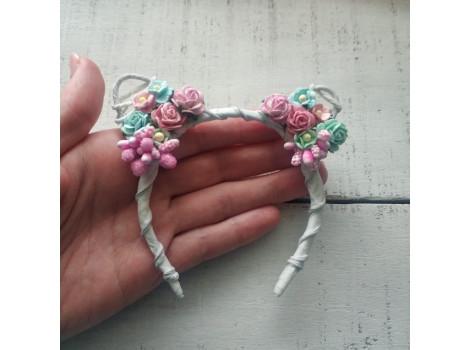 Ободок с ушками бело-мятно-розовый