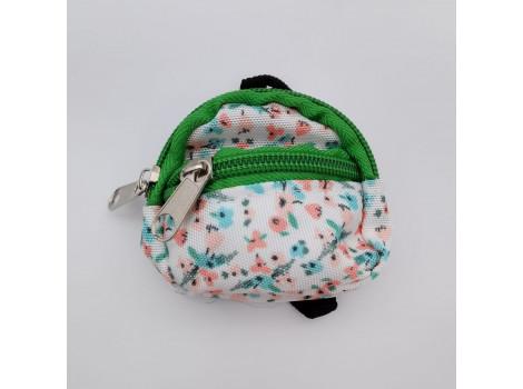 Рюкзак для кукол зеленый в цветочек