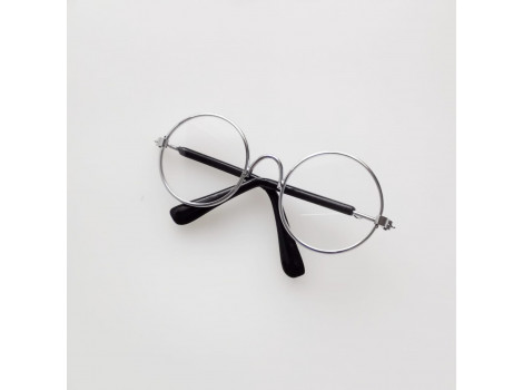 Очки 8 см с прозрачными стеклами в серебристой оправе