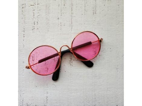 Очки для кукол 8 см металлические с розовыми стеклами