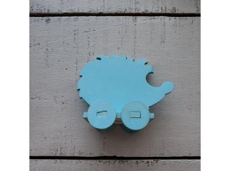 Деревянный ежик голубой