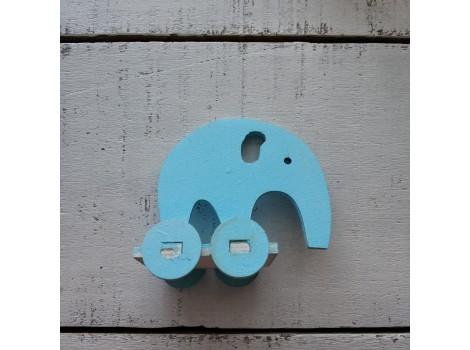 Деревянный слоник голубой
