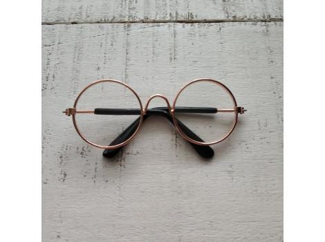 Очки 8 см с прозрачными стеклами в золотой оправе