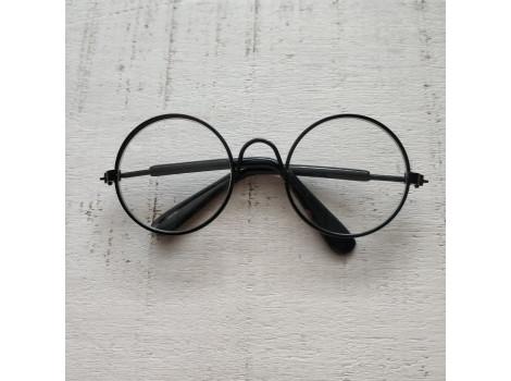Очки 8 см с прозрачными стеклами в черной оправе