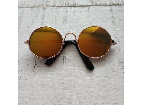 Очки для кукол 8 см металлические зеркальные желтые
