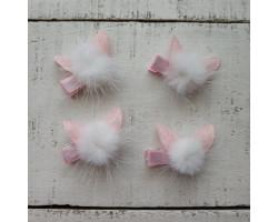 Заколка для волос зайка бело-розовая