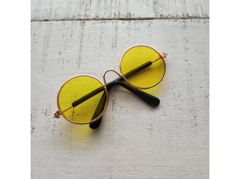 Очки для кукол 8 см металлические желтые