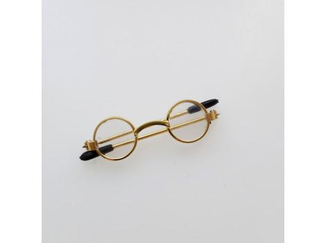 Очки для кукол 5 см с прозрачными стеклами в золотистой оправе