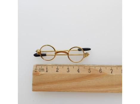 Очки для кукол 5 см с прозрачными стеклами в черной оправе
