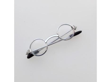 Очки для кукол 5 см с прозрачными стеклами в серебристой оправе