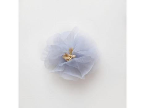 Цветочек из органзы рифленый светло-голубой