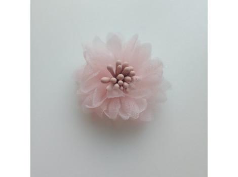 Цветочек из органзы розовый