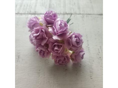 Цветочек розочка кудрявая 2см светло-сиреневая