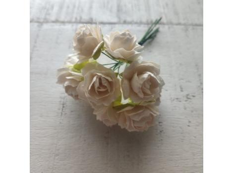 Цветочек розочка кудрявая 2см белая