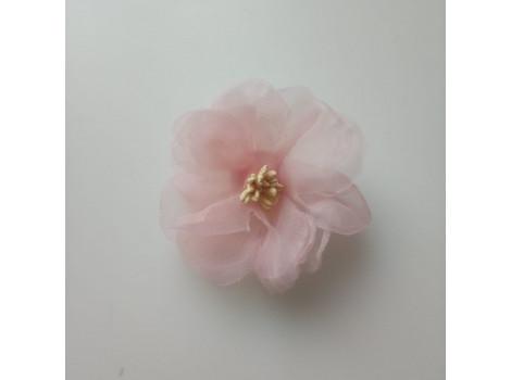Цветочек из органзы крупный персиково-розовый