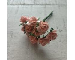 Цветочек розочка мини 1.5 см светло-персиковая