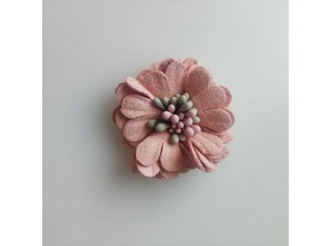 Цветочек замшевый розово-персиковый