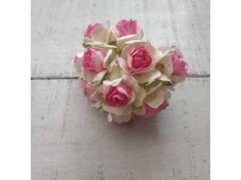 Цветочек розочка кудрявая 3см белая с розовой серединкой
