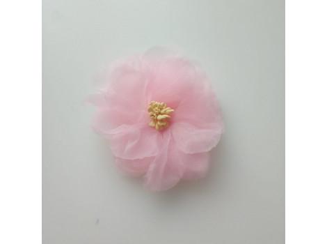 Цветочек из органзы крупный розовый