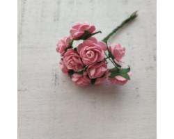 Цветочек розочка мини 1.5 см розовая