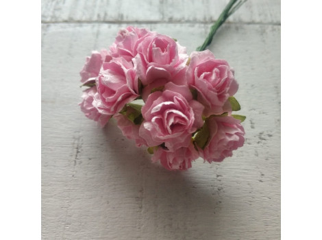 Цветочек розочка кудрявая 2см розовый