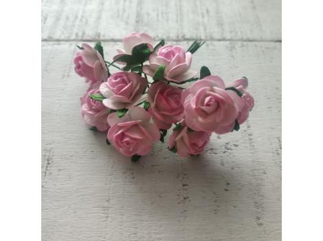 Цветочек розочка миди 2 см бело-розовая