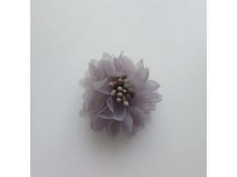 Цветочек из органзы серый
