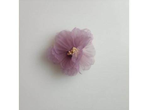 Цветочек из органзы рифленый лиловый