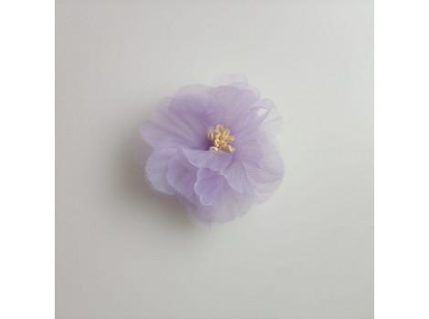 Цветочек из органзы рифленый сиреневый