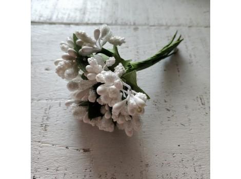 Букет тычинок с листиками белый