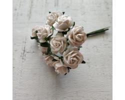 Цветочек розочка мини 1.5 см белая