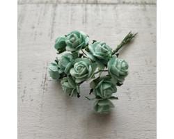 Цветочек розочка мини 1.5 см мятная