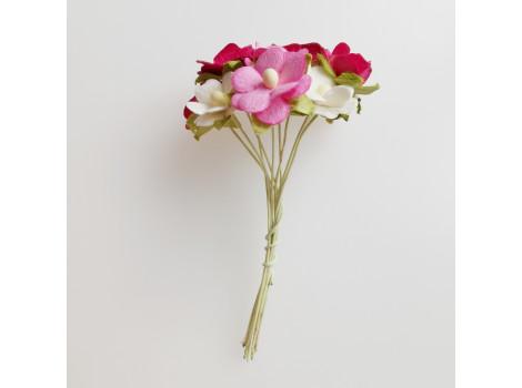 Цветочки вишни средние розовый микс 10 шт