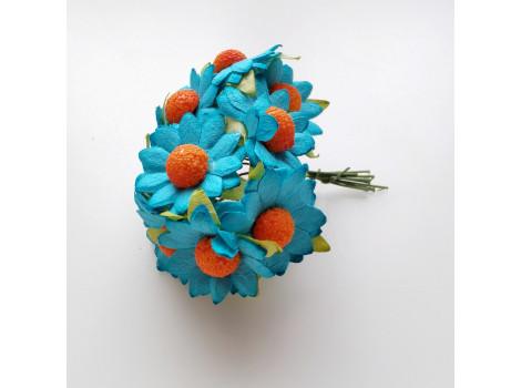 Цветочек ромашка 2.5см бирюзовый