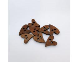 Деревянные пуговицы сердечки вытянутые 1.9 см