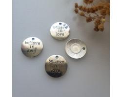 Подвеска медальон belive in love 2*2 см