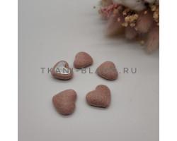 Пуговица декоративная сердечко бежево-розовое