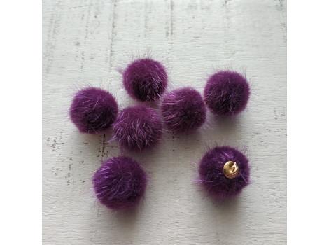 Подвеска пушистый шарик фиолетовый