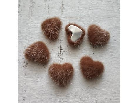 Пуговица сердечко пушистое коричневое