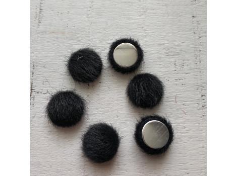 Пуговица круглая пушистая черная