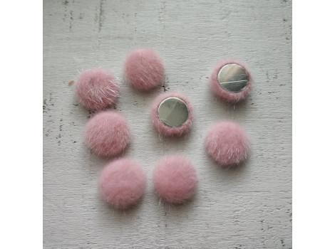 Пуговица круглая пушистая розовая