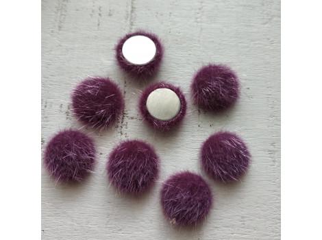 Пуговица круглая пушистая фиолетовая