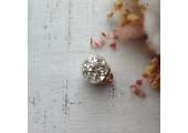 Подвеска шарик с блестками серебро