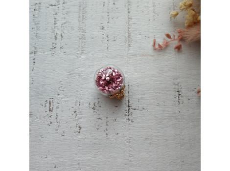 Подвеска шарик с блестками розовый