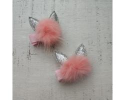 Заколка для волос зайка серо-розовая