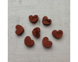 Деревянные пуговицы-кнопки сердечки Love 1.2 см