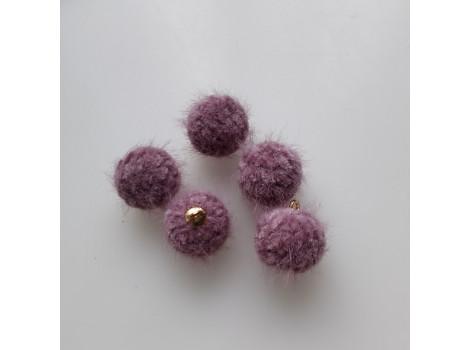 Подвеска вязаный шарик лиловый