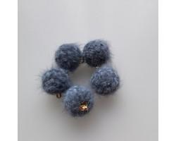 Подвеска вязаный шарик серо-синий